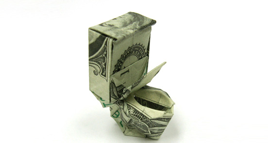 Toilet One Dollar Origami