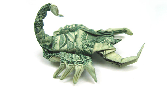 Scorpion One Dollar Origami
