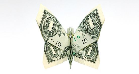 Butterfly One Dollar Origami
