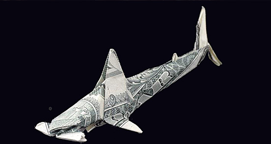 Shark One Dollar Origami