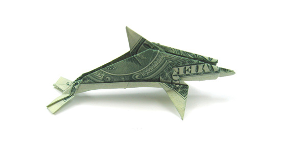 Dolphin One Dollar Origami