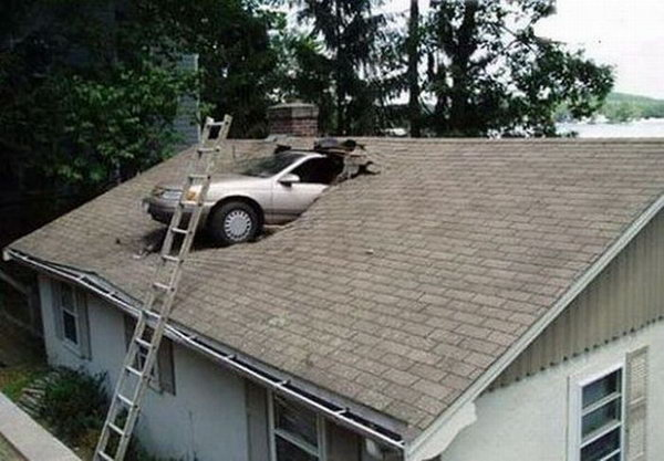Car in a Roof